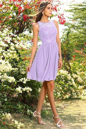 A-Line Natural Waist Sleeveless Chiffon Short Bridesmaid Dress - 19