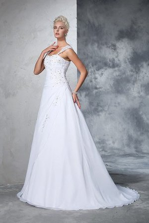 Empire Waist Appliques Chiffon Wide Straps Lace-up Wedding Dress - 4