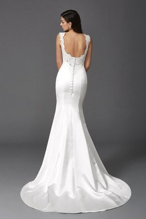 Mermaid Satin Wide Straps Sweep Train Natural Waist Wedding Dress - 2