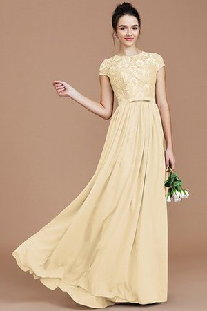A-Line Jewel Lace Short Sleeves Bridesmaid Dress - 12