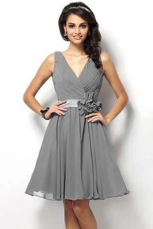 Draped A-Line V-Neck Natural Waist Bridesmaid Dress - 27