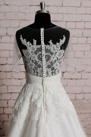 Appliques Capped Sleeves Jewel Natural Waist Floor Length Wedding Dress - 2