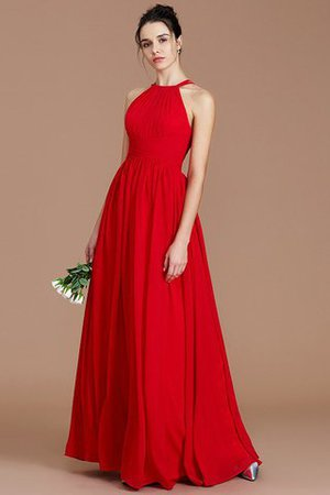 Ruched Floor Length Chiffon Natural Waist Halter Bridesmaid Dress - 2