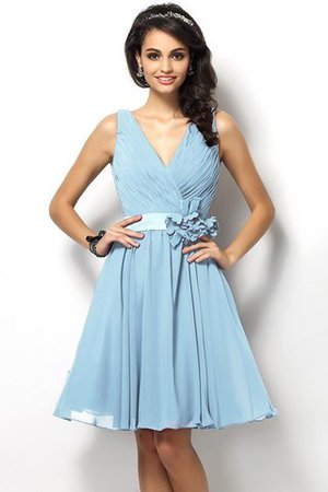Draped A-Line V-Neck Natural Waist Bridesmaid Dress - 18