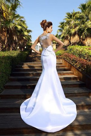 Beading Sleeveless Empire Waist Court Train Satin Wedding Dress - 2