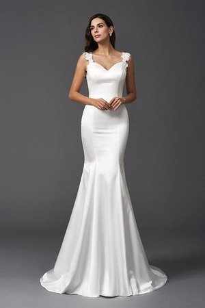 Mermaid Satin Wide Straps Sweep Train Natural Waist Wedding Dress - 4