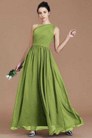 Floor Length Natural Waist Chiffon Ruched One Shoulder Bridesmaid Dress - 17