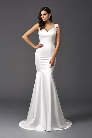 Mermaid Satin Wide Straps Sweep Train Natural Waist Wedding Dress - 3