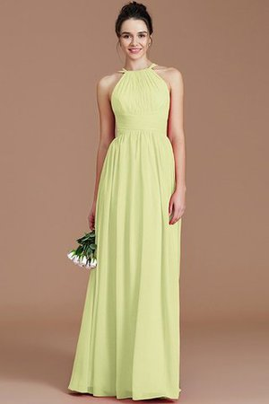 Ruched Floor Length Chiffon Natural Waist Halter Bridesmaid Dress - 12