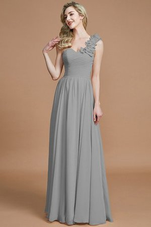 Sleeveless Natural Waist One Shoulder A-Line Chiffon Bridesmaid Dress - 32