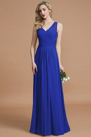 Natural Waist Floor Length A-Line V-Neck Bridesmaid Dress - 30