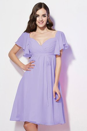 Ruffles Knee Length Short Sleeves Sweetheart Bridesmaid Dress - 16