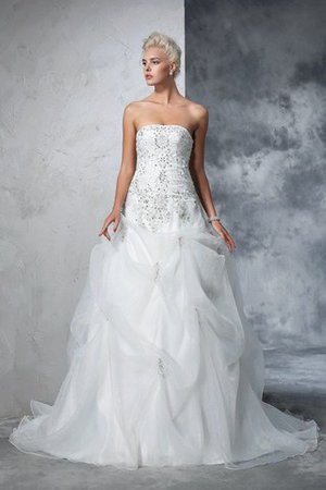 Lace-up Tulle Long Chapel Train Strapless Wedding Dress - 1