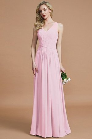 Natural Waist Floor Length A-Line V-Neck Bridesmaid Dress - 27