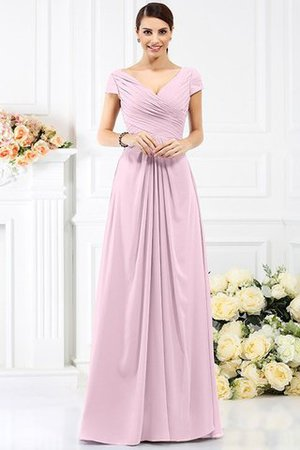 Long Empire Waist Pleated A-Line Short Sleeves Bridesmaid Dress - 22