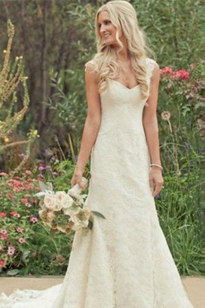 Lace Natural Waist V-Neck Sweep Train Mermaid Wedding Dress - 1