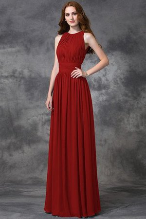 Sleeveless Ruched Natural Waist Chiffon Long Bridesmaid Dress - 23