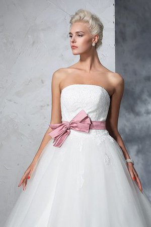 Empire Waist Court Train Accented Bow Ball Gown Strapless Wedding Dress - 7
