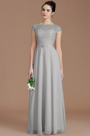 Floor Length Lace Chiffon Natural Waist Zipper Up Bridesmaid Dress - 32
