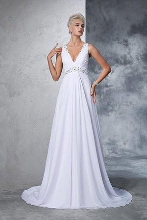Cathedral Train Natural Waist A-Line Chiffon Wedding Dress - 4
