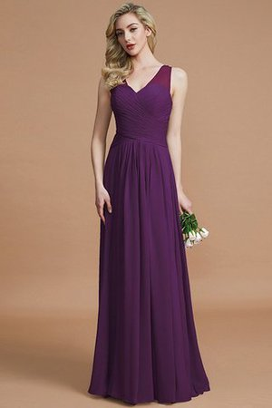 Natural Waist Floor Length A-Line V-Neck Bridesmaid Dress - 18