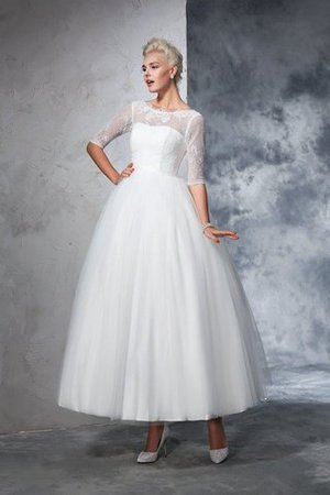 Ball Gown Ankle Length Half Sleeves Lace Long Wedding Dress - 1