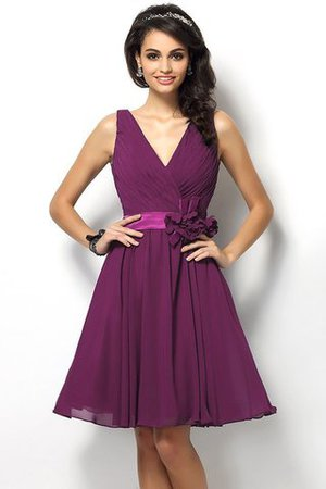 Draped A-Line V-Neck Natural Waist Bridesmaid Dress - 5