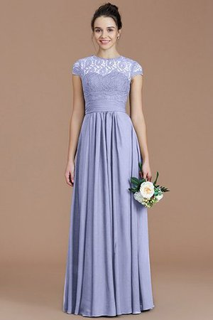 Chiffon Floor Length A-Line Jewel Short Sleeves Bridesmaid Dress - 24