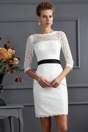 Zipper Up Short Natural Waist 3/4 Length Sleeves Scoop Mother Of The Bride Dress - 1