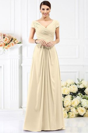 Long Empire Waist Pleated A-Line Short Sleeves Bridesmaid Dress - 6