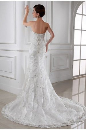 Beading Sleeveless Chapel Train Satin Mermaid Wedding Dress - 2