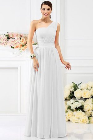 Pleated Long A-Line One Shoulder Bridesmaid Dress - 29