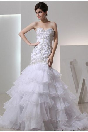 Lace-up Sweetheart Empire Waist Mermaid Sleeveless Wedding Dress - 1