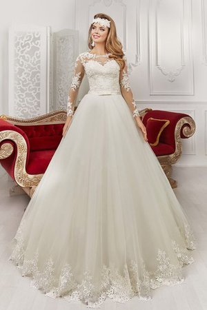 Pleated Long Sleeves Lace Fabric Bateau Romantic Wedding Dress - 1