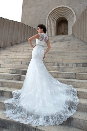 V-Neck Mermaid Sleeveless Chapel Train Appliques Wedding Dress - 2