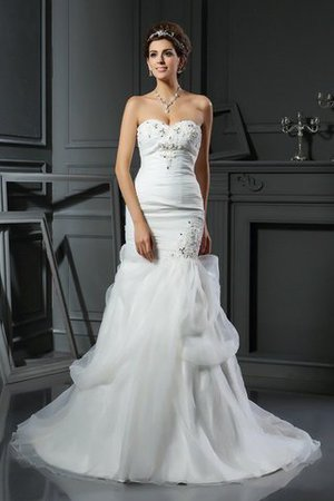 Mermaid Long Sweetheart Beading Lace-up Wedding Dress - 1