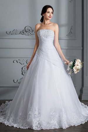 Ball Gown Natural Waist Organza Sleeveless Court Train Wedding Dress - 1