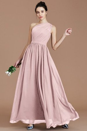 Floor Length Natural Waist Chiffon Ruched One Shoulder Bridesmaid Dress - 25