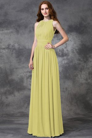 Sleeveless Ruched Natural Waist Chiffon Long Bridesmaid Dress - 7