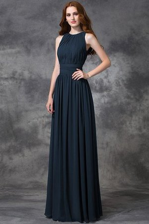 Sleeveless Ruched Natural Waist Chiffon Long Bridesmaid Dress - 9