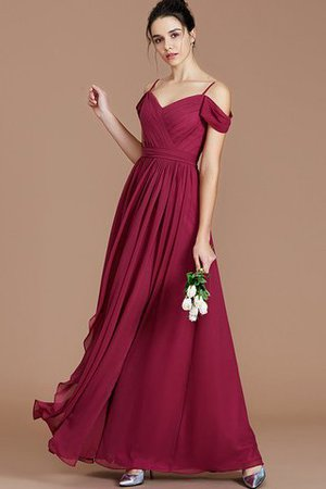 Chiffon Floor Length A-Line Ruched Bridesmaid Dress - 1