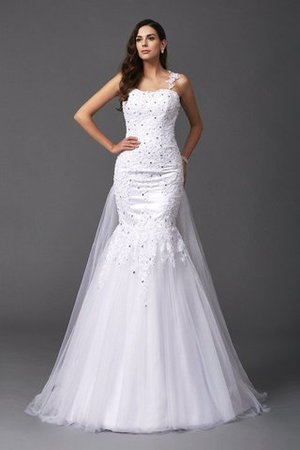 Wide Straps Long Sweep Train Natural Waist Wedding Dress - 1