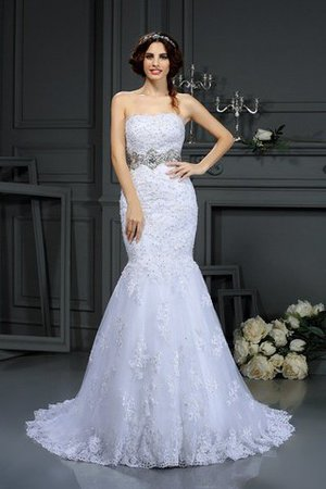 Long Strapless Lace Sleeveless Natural Waist Wedding Dress - 1