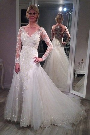 Tulle Long Sleeves V-Neck A-Line Sequins Wedding Dress - 1