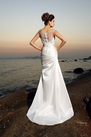 Scoop Empire Waist Beading Satin Long Wedding Dress - 2