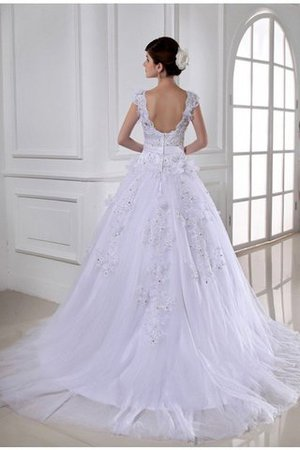 Beading Sleeveless Chapel Train Wide Straps Appliques Wedding Dress - 2
