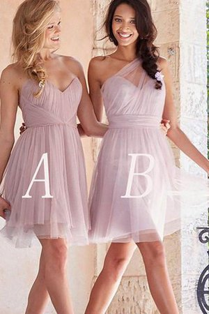 Short Tulle Sleeveless A-Line Bridesmaid Dress - 1