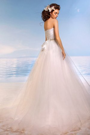 Ball Gown Beach Lace-up Court Train Tulle Wedding Dress - 2