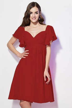 Ruffles Knee Length Short Sleeves Sweetheart Bridesmaid Dress - 22
