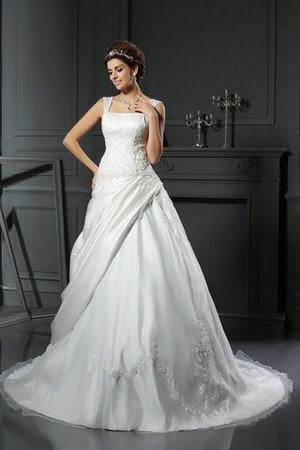 Empire Waist Ball Gown Appliques Chapel Train Lace-up Wedding Dress - 1